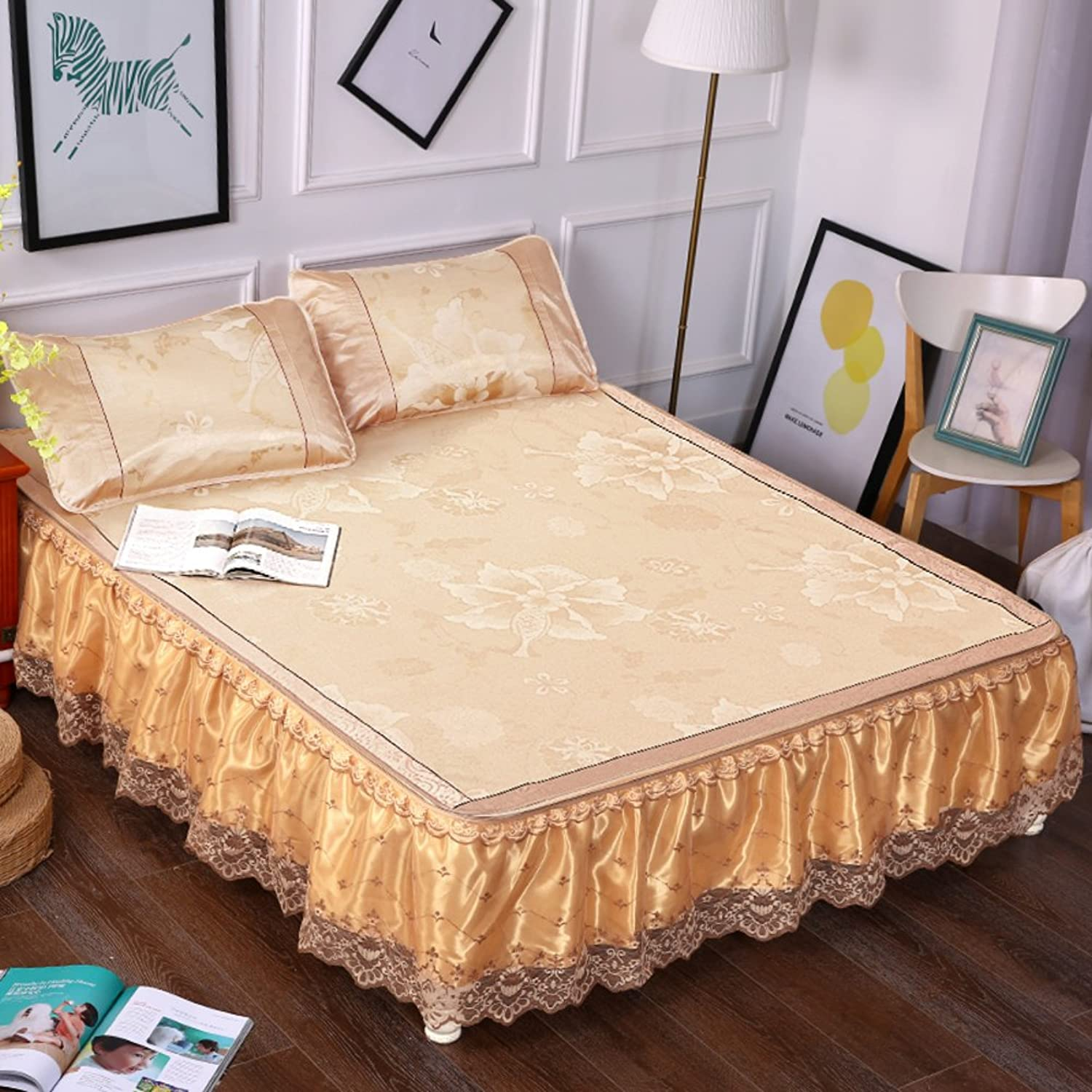 Summer lace Bed Skirt, Removable Three Sets ice Silk Summer mat Cool pad Flower Hypoallergenic Breathable Sleeping mat -E 180x200cm(71x79inch)