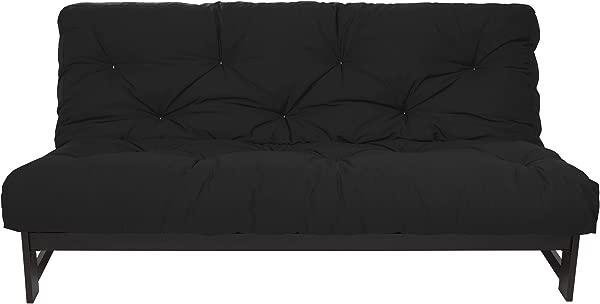 Mozaic Full Size 8 Inch Cotton Twill Gel Dual Memory Foam Futon Mattress Black