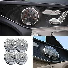 Door Speaker Audio Player Cover Trim Protector for Mercedes Benz for 2015-up Mercedes W205 C-Class C250 C300 C350 C400 C63, X205 GLC-Class GLC250 GLC300 (1set/4pic) (Matt Silver)