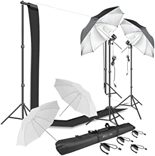 HYJ-INC Photography Umbrella Continuous Lighting Kit,Muslin Backdrop Kit(White Black), Backdrop Clips Clamp,10ft Photo Background Photography Stand System for Photo Video Studio Shooting