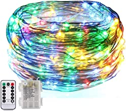 BOLWEO 8 Flashing Modes, Battery Operated Fairy Christmas String Lights with Remote Timer, 5M/16.4Ft 50LEDs Dimmable Fairy Lights for Indoor Outdoor Home Christmas Tree Decoration,Rainbow