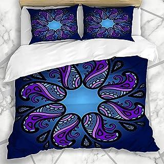 Juego De Colchas Ornamento Ornamental Azul Textura Colorida Paisley Texturas Místicas Abstractas Orientales Azteca Negra Con Funda De Almohada Juego De Cama De 3 Piezas Conjunto De Funda Nórdica