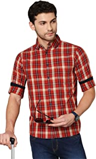 Dennis Lingo Men's Checkered Olive Slim Fit Cotton Casual Shirt