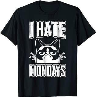 I Hate Mondays Funny Angry Cat Face Sarcastic Pun T-Shirt