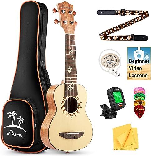Donner Soprano Ukulele Beginners Pack Spruce 21 inch Ukelele Kit with Online Lesson Gig Bag Strap Nylon String Tuner ...