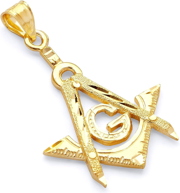 14k REAL Yellow Gold Freemason Masonic Charm Pendant