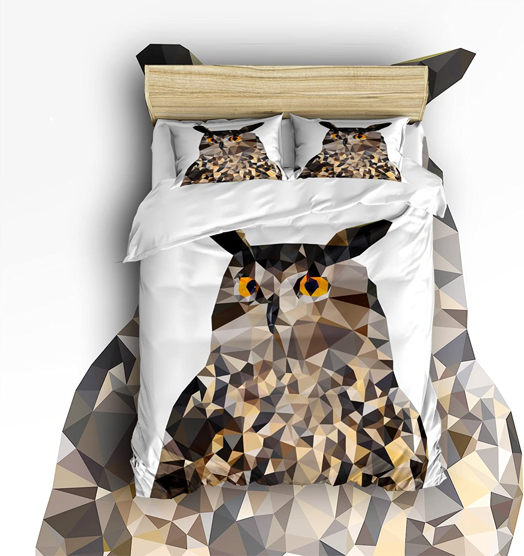 Libaoge 4 Piece Bed Sheets Set, Vivid Geometric Owl Print, 1 Flat Sheet 1 Duvet Cover and 2 Pillow Cases
