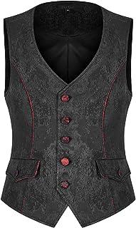 Punk Rave Mens Gothic Waistcoat Vest Black Red Brocade Jacquard Floral Vampire Steampunk Wedding Vintage Victorian Regency...