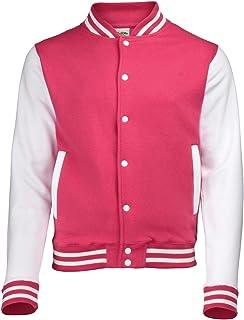 AWDis Unisex Varsity Jacket Small Hot Pink/White