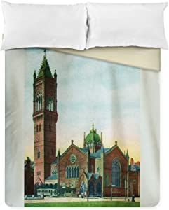 Lantern Press Boston, Massachusetts - Exterior View of The New Old South Church 18894 (88x88 Queen Microfiber Duvet Cover)