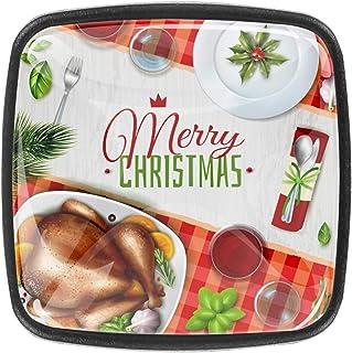 Noël de dinde réaliste coloré 4 PCS Tiroir de Porte Poignée, Bouton de Meubles, Boutons de Tiroir, Boutons de Porte, Poign...