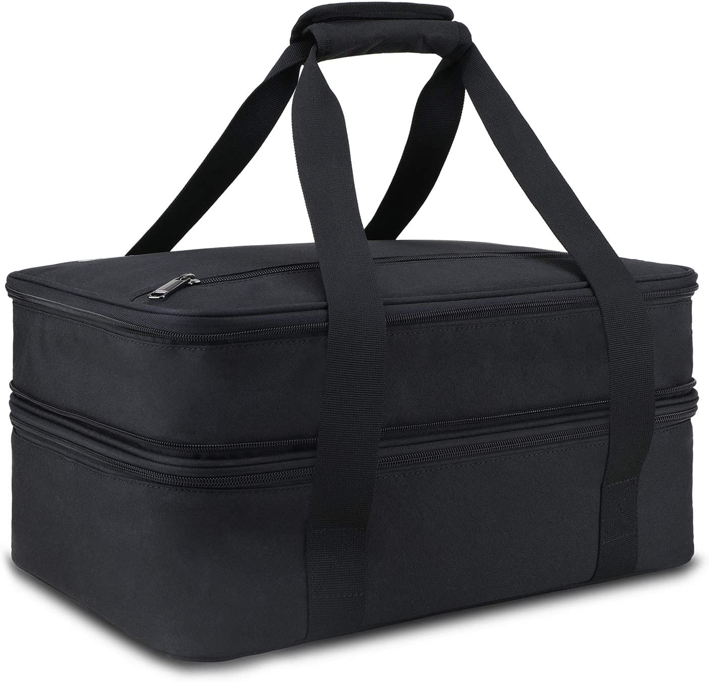 Weitars Double Decker Casserole Carrier Insulated Expandable Large Cooler Bag Leakproof Cooler Bag Holder Tote for BBQ, Picnic, Party, Camping (Black)