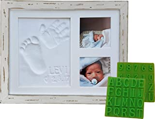 Distressed Baby Handprint & Footprint Picture Frame Kit - Rustic 9