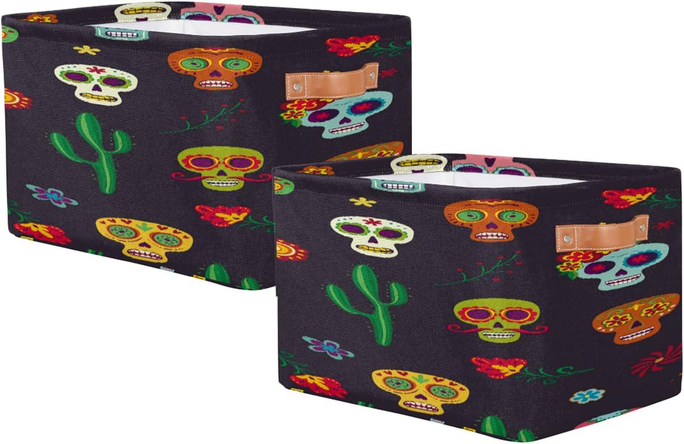 Storage Ranking TOP7 Basket Fashionable Set of 2 Rectangular Toy Pattern Flower