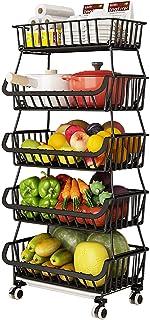 BRIAN & DANY Panier en Fil avec Roues et Couvercle, Support Utilitaire de Panier de Fruits Roulant empilable à 5 Niveaux, ...