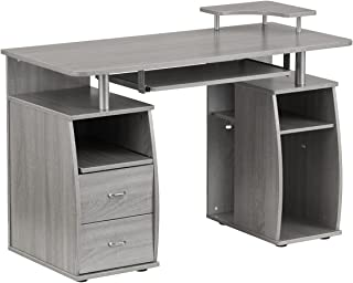 Techni Mobili Complete Computer Workstation Desk Grey/Grey/Rectangle (Gray)