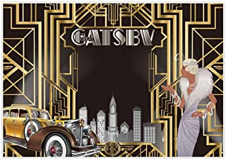 Allenjoy 7x5ft The Great Gatsby Themed Backdrop for Adult Celebration Retro Roaring 20's 20s Party Art Decor Happy 1st Birthday Wedding Decoration Pictures Background Supplies Photo Booth Prop