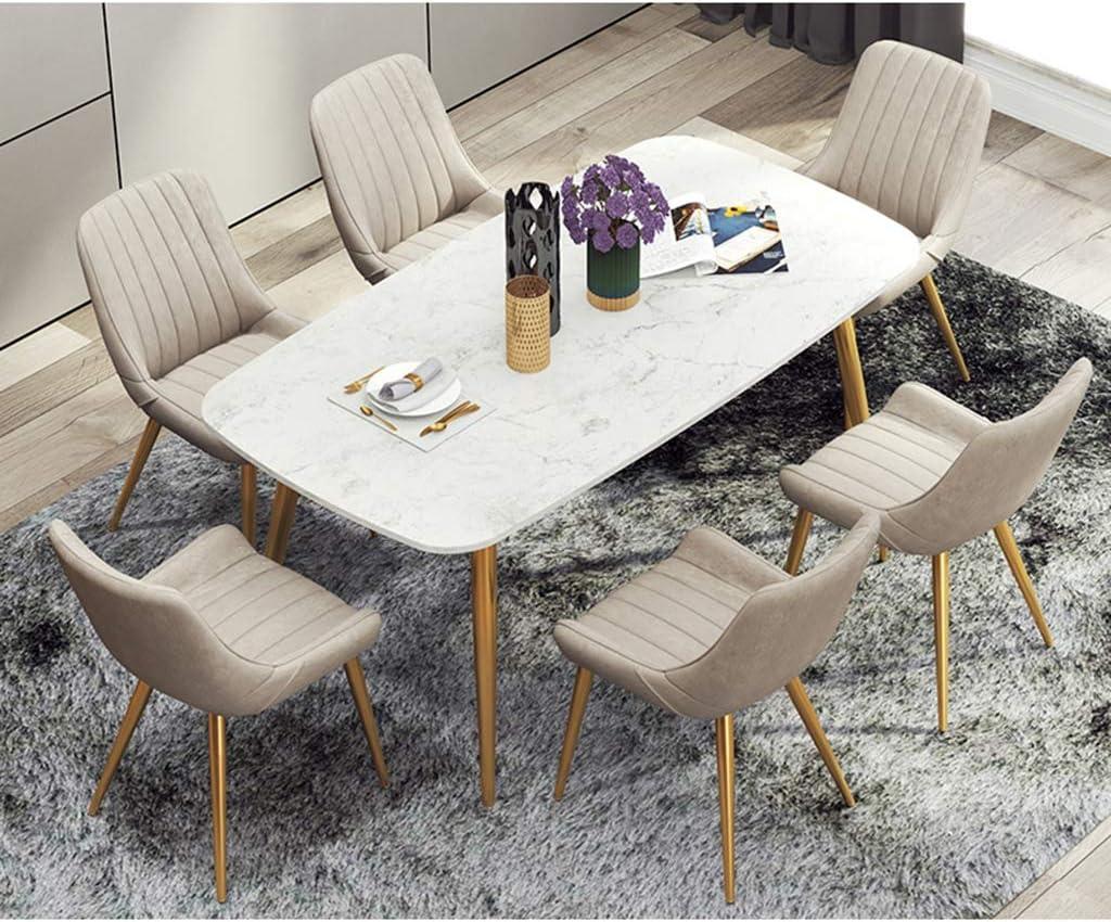 LSRRYD Lot de 6 Chaises de salle à manger Chaise de Cuisine Salle à Manger Design scandinave Assise PU rembourrée avec Antidérapant Pattes en métal Chaise de bar (Color : E) D