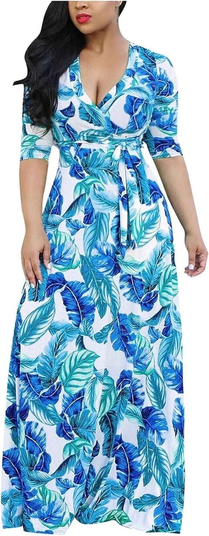 SANGNI Beach Dresses for Women Womens Fashion Print V-Neck Lacing Slim Body Wrap Hips Shirt Long Dress E275