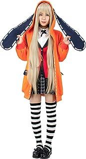 C-ZOFEK Kakegurui Runa Yomozuki Cospaly Costume Orange Hooded Jacket with Ears