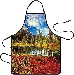 charmsamx Waterproof Polyester Apron Natural Landscape Printed Aprons Adjustable Bib Apron Waitress Waist Apron for Cooking Restaurant BBQ Home Kitchen Chef