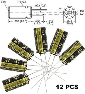 12x Panasonic FM 470uF 35v Low-ESR Aluminum Electrolytic Capacitors - Leaded, 5000 hours @ 105C, 20% Tolerance, 10x20mm,