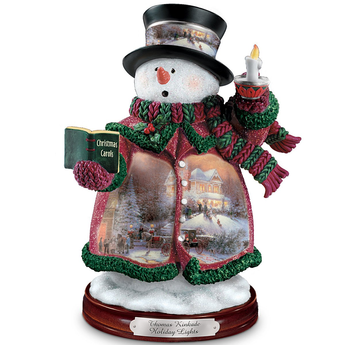 Image of Holiday Lights Snowman Figurine with Thomas Kinkade Christmas Art