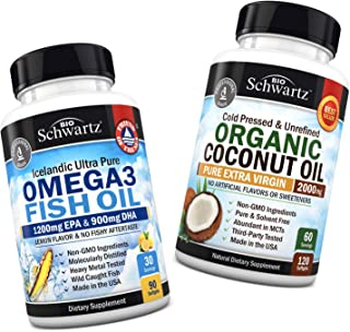 Omega 3 Fish Oil Supplement + Organic Coconut Oil Capsules - Promotes Healthy Skin, Hair, Nails & Eyes - Promotes Healthy Immune System & Healthy Cholesterol