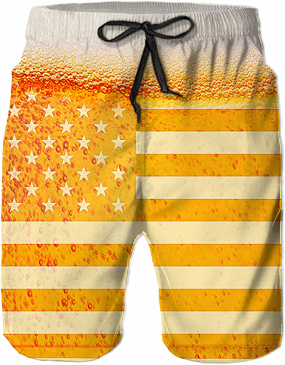 UOER Men's Swim Trunks Beer American Flag Quick Dry Beach Swimsuit Summer Board Shorts with Mesh Lining