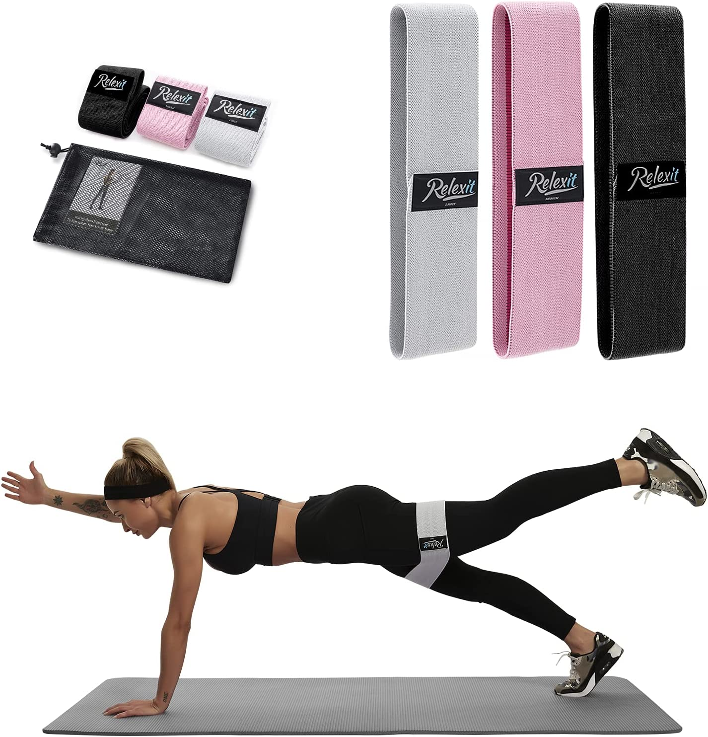 RELEXIT Fabric Elegant Resistance Bands Set for Legs Long Beach Mall and Butt Ho Pack 3