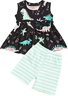 Toddler Baby Girl Clothes Vest Ruffle Tank Dinosaur Top and Stripes Pants 2Pcs Summer Outfits Sets