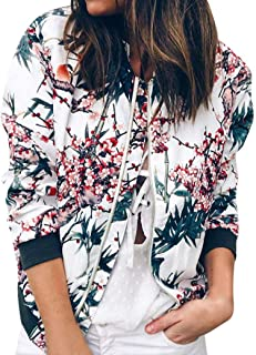 iYBUIA Autumn Womens Ladies Retro Print Floral Zipper Up Bomber Jacket Casual Coat Outwear