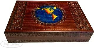 PolishArt Large World Map Handmade Wood Box for Men to Keep Jewelry and Keepsakes on Desk or Dresser