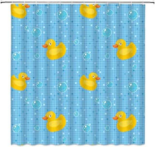 Rubber Duck Shower Curtain,Kids Cartoon Bath Ducks Soap Bubbles Collection Plaid Stripes Fabric Bathroom Decor,Hooks Included,71 X 71 Inches,Yellow Blue