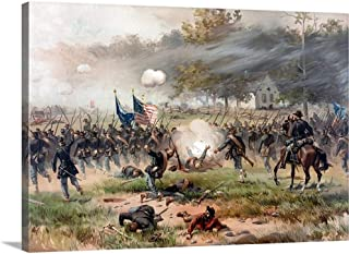 Civil War Painting of Union and Confederate Troops Fighting at The Battle of Antietam Canvas Wa.