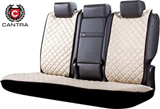 Cantra Premium Car Seat Covers for Back Seats | 100% Hand Made of Quality Fabric Materials | Comfortable Easy Fit | Durable & Long Lasting | Universal Fit X-Model (White)
