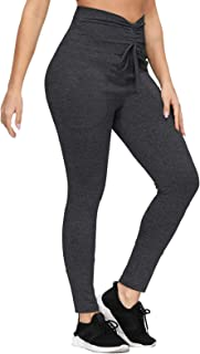 Zexxxy Women High Waisted Leggings Soft Slim Pants with Pockets Ruched Waistband