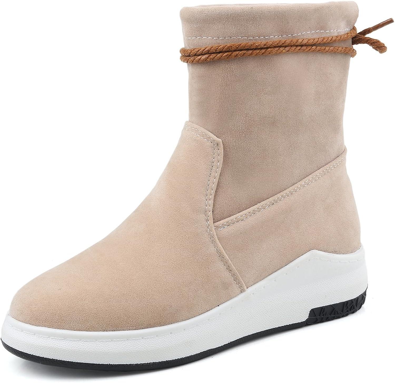 BalaMasa Womens Flatform Closed-Toe Solid Round-Toe Apricot Suede Boots ABL09606 - 9 B(M) US