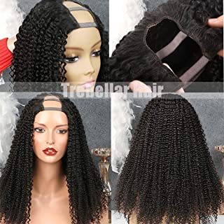 100% Unprocessed Virgin Brazilian Human Hair Wigs for Black Women Kinky Curly 2X4 U Part Wig Cap with Combs Deep Wave Hair 130% Density Natural Color 18