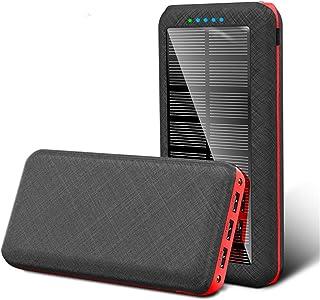WFEI Solar Power Bank 80 000 mAh solladdare snabbladdande bärbar telefonladdare extern reservbatteri med 3 USB-utgångar, röd