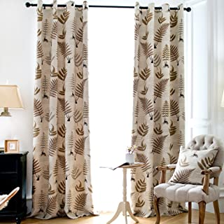 Jaoul Botanical Fern Leaves Cotton Linen Texture Curtains, Room Darkening Grommet Floral Drapes for Living Room, 52 x 96 Inch, 1 Panel (Beige/Brown)