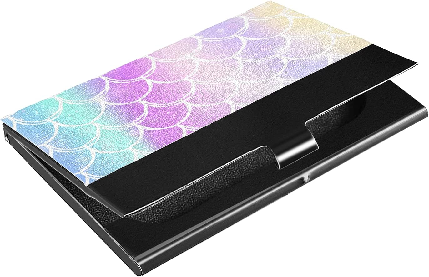 OTVEE Beautiful Rrainbow Mermaid Scales Business Card Holder Wallet Stainless Steel & Leather Pocket Business Card Case Organizer Slim Name Card ID Card Holders Credit Card Wallet Carrier Purse for Wo