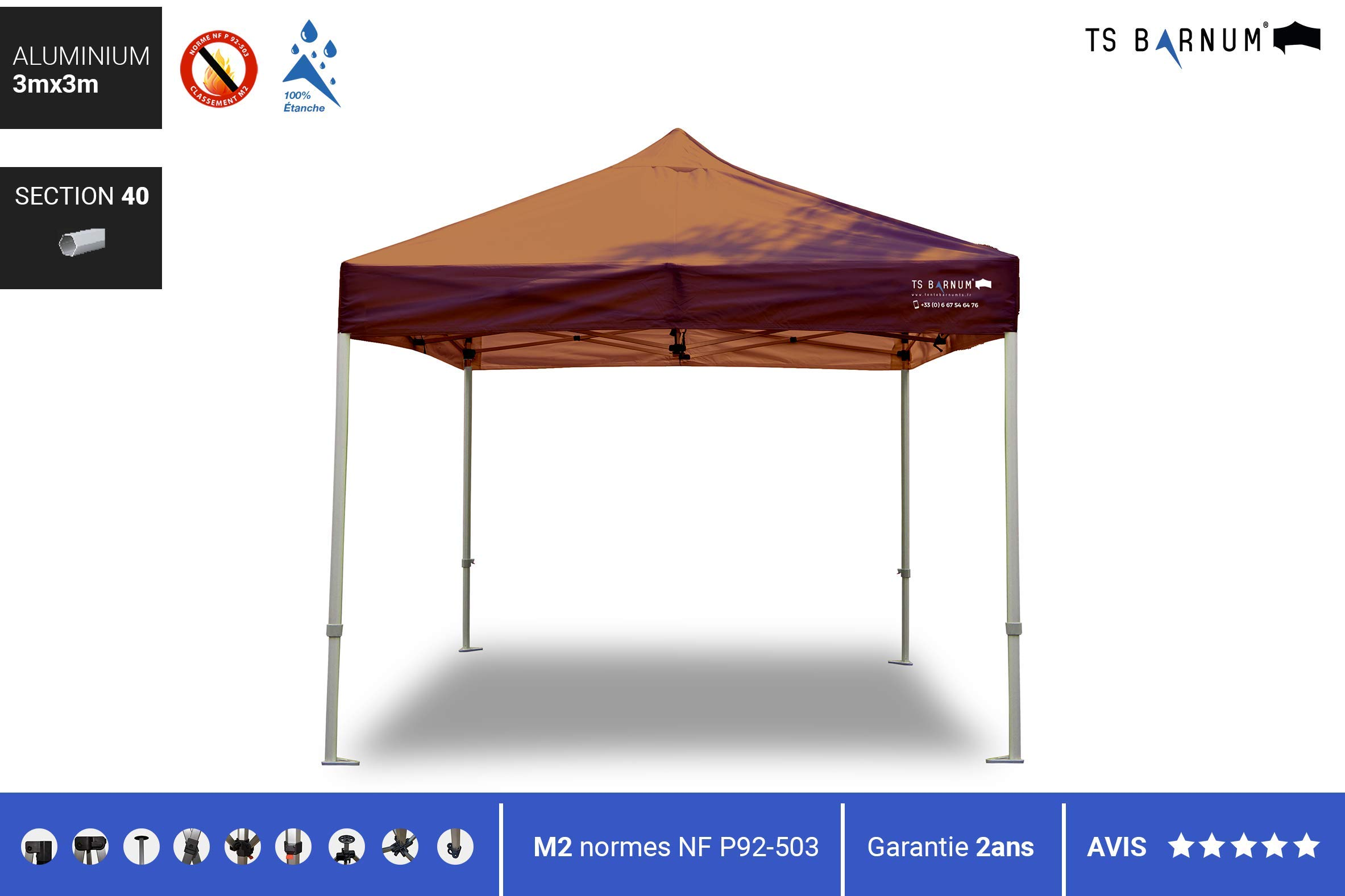 Barnum Aluminio # 40, Color marrón, tamaño 3m x 3m (M2), 97.00 ...