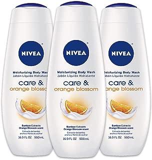 NIVEA Care & Orange Blossom Moisturizing Body Wash - Fresh Scent for Normal Skin - 16.9 fl. oz. Bottle (Pack of 3)