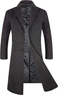 APTRO Men's Full Length Wool Blend Trench Coat Fleece Lining Top Overcoat