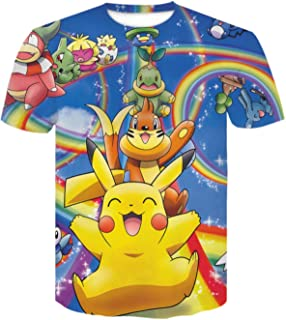 T Shirts Boys Girls 3D Print T-Shirt Pokemon tee Anime Cartoon Clothes Pikachu Unisex T Shirts Short Sleeve Shirts