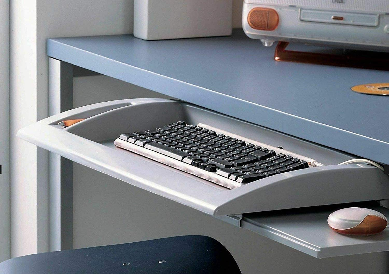 Soporte para teclado extraíble con estante auxiliar para el ratón. Guías de acero (con soporte para ratón)