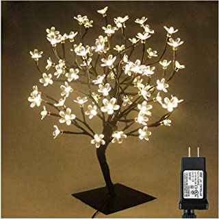 PMS 17inch 72 LEDs Cherry Blossom Tree Lights Desk Top Bonsai Tree Lamp with Low Voltage Transformer, Ideal for Christmas Wedding Party Bedroom Home Decoration (Warm White)