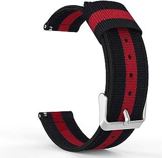 سير ساعة سامسونغ قير س3  فرونتير و كلاسيك، وساعة موتو 360 ، نايلون فاخر، مقاس قابل للتعديل، لون أسود وأحمر