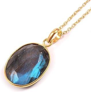 Ratnagarbha Blue Flash Labradorite Necklace, Natural Gemstone Necklace, Oval Shape Pendant, Gold Necklace, Stone Pendant, ...